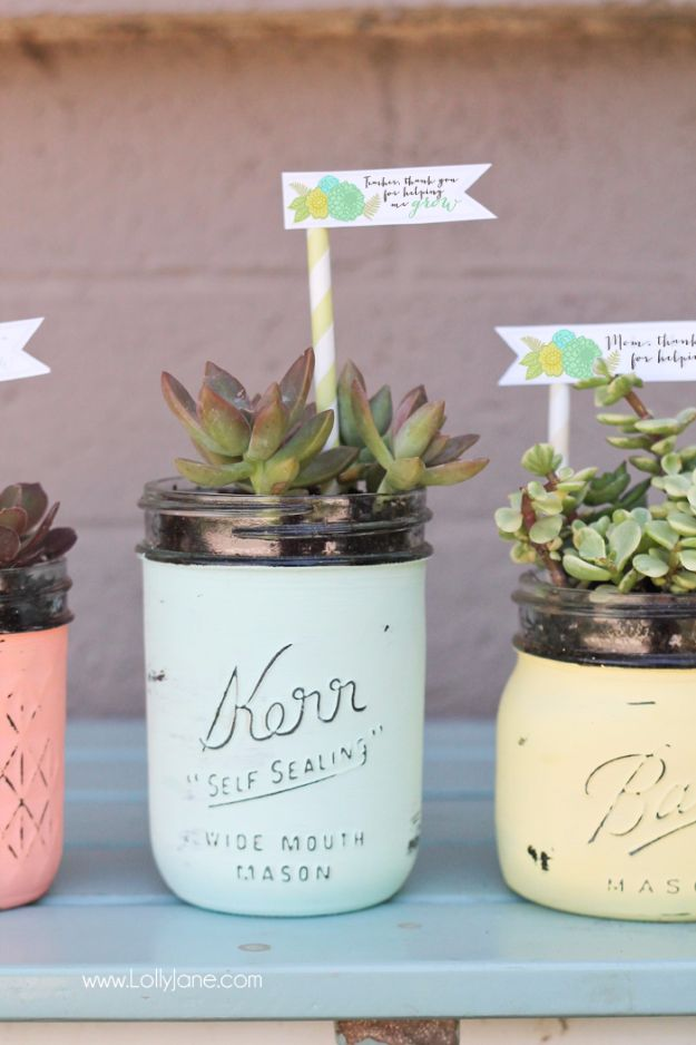 DIY Mothers Day Gift Ideas - DIY Mason Jar Succulent Pots - Homemade Gifts for Moms - Crafts and Do It Yourself Home Decor, Accessories and Fashion To Make For Mom - Mothers Love Handmade Presents on Mother's Day - DIY Projects and Crafts by DIY JOY http://diyjoy.com/diy-mothers-day-gifts
