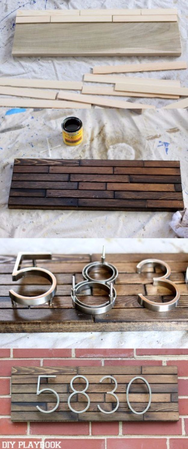 DIY House Numbers - DIY Modern Address Plate - DIY Numbers To Put In Front Yard and At Front Door - Architectural Numbers and Creative Do It Yourself Projects for Making House Numbers - Easy Step by Step Tutorials and Project Ideas for Home Improvement on A Budget http://diyjoy.com/diy-house-numbers