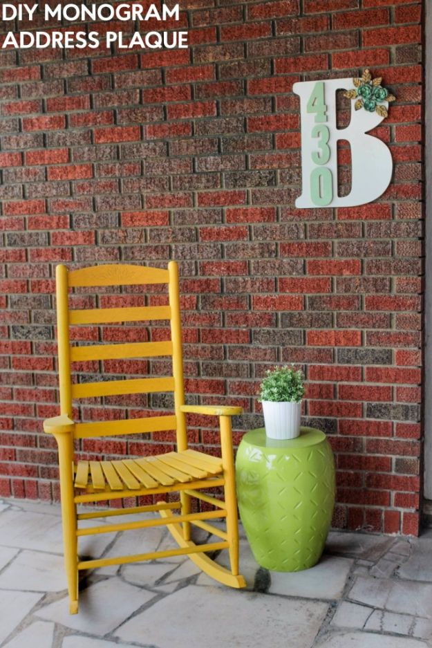 DIY Wall Letters and Word Signs - DIY Monogram Address Plaque- Initials Wall Art for Creative Home Decor Ideas - Cool Architectural Letter Projects and Wall Art Tutorials for Living Room Decor, Bedroom Ideas. Girl or Boy Nursery. Paint, Glitter, String Art, Easy Cardboard and Rustic Wooden Ideas - DIY Projects and Crafts by DIY JOY #diysigns #diyideas #diyhomedecor