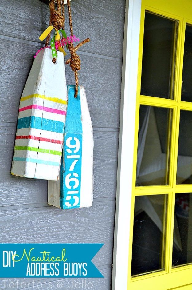 DIY House Numbers - DIY Nautical Address Buoys - DIY Numbers To Put In Front Yard and At Front Door - Architectural Numbers and Creative Do It Yourself Projects for Making House Numbers - Easy Step by Step Tutorials and Project Ideas for Home Improvement on A Budget http://diyjoy.com/diy-house-numbers