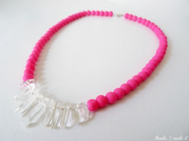 DIY Necklace Ideas - DIY Neon Quartz Necklace - Easy Handmade Necklaces with Step by Step Tutorials - Pendant, Beads, Statement, Choker, Layered Boho, Chain and Simple Looks - Creative Jewlery Making Ideas for Women and Teens, Girls - Crafts and Cool Fashion Ideas for Women, Teens and Teenagers #necklaces #diyjewelry #jewelrymaking #teencrafts