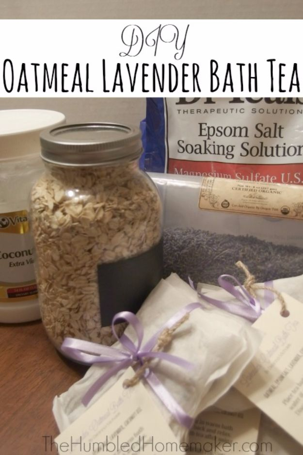 DIY Lavender Recipes and Project Ideas - DIY Oatmeal Lavender Bath Teas - Food, Beauty, Baking Tutorials, Desserts and Drinks Made With Fresh and Dried Lavender - Savory Lavender Recipe Ideas, Healthy and Vegan #lavender #diy