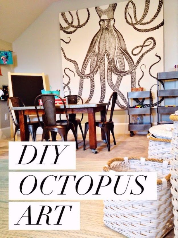 DIY Canvas Painting Ideas - DIY Octopus Art - Cool and Easy Wall Art Ideas You Can Make On A Budget #painting #diyart #diygifts