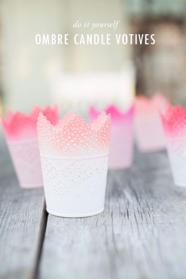 DIY Outdoors Wedding Ideas - DIY Ombre Candle Votives - Cheap DIY Wedding Decor Ideas for Outdoor Ceremony - DIY Centerpiece Ideas for Wedding Outside
