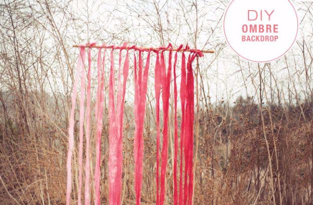 DIY Outdoors Wedding Ideas - DIY Ombre Fabric Backdrop