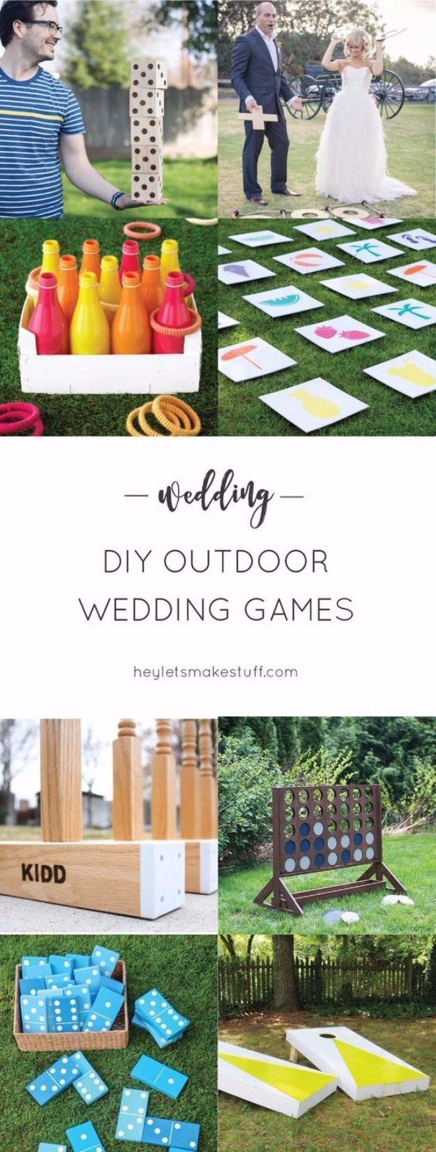 DIY Outdoors Wedding Ideas - DIY Outdoor Wedding Games - Step by Step Tutorials and Projects Ideas for Summer Brides - Lighting, Mason Jar Centerpieces, Table Decor, Party Favors, Guestbook Ideas, Signs, Flowers, Banners, Tablecloth #wedding #diy