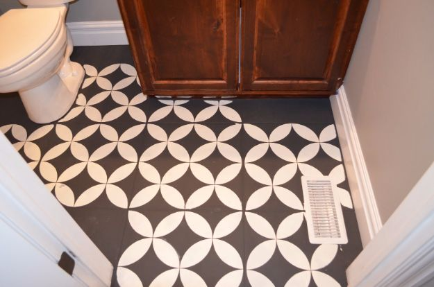 DIY Home Improvement On A Budget - DIY Painted Bathroom Tiles - Easy and Cheap Do It Yourself Tutorials for Updating and Renovating Your House - Home Decor Tips and Tricks, Remodeling and Decorating Hacks - DIY Projects and Crafts by DIY JOY http://diyjoy.com/diy-home-improvement-ideas-budget