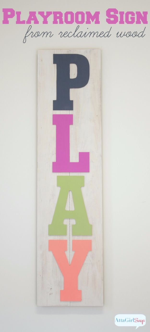 DIY Wall Letters and Word Signs - DIY Painted Playroom Wood Sign - Initials Wall Art for Creative Home Decor Ideas - Cool Architectural Letter Projects and Wall Art Tutorials for Living Room Decor, Bedroom Ideas. Girl or Boy Nursery. Paint, Glitter, String Art, Easy Cardboard and Rustic Wooden Ideas - DIY Projects and Crafts by DIY JOY http://diyjoy.com/diy-letter-word-signs
