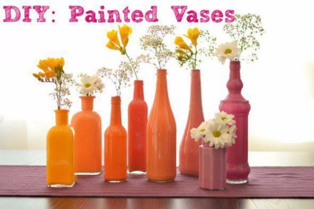 DIY Outdoors Wedding Ideas - DIY Painted Vases - Step by Step Tutorials and Projects Ideas for Summer Brides - Lighting, Mason Jar Centerpieces, Table Decor, Party Favors, Guestbook Ideas, Signs, Flowers, Banners, Tablecloth #wedding #diy