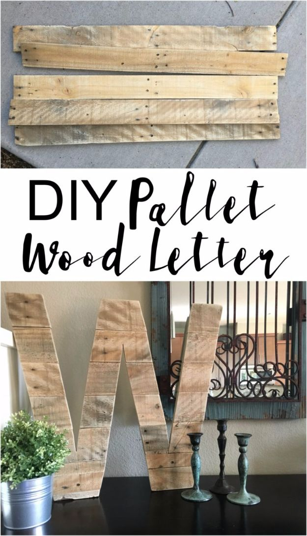 DIY Wall Letters and Word Signs - DIY Pallet Wood Letter - Initials Wall Art for Creative Home Decor Ideas - Cool Architectural Letter Projects and Wall Art Tutorials for Living Room Decor, Bedroom Ideas. Girl or Boy Nursery. Paint, Glitter, String Art, Easy Cardboard and Rustic Wooden Ideas - DIY Projects and Crafts by DIY JOY #diysigns #diyideas #diyhomedecor