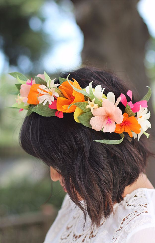 DIY Outdoors Wedding Ideas - DIY Paper Flower Crown - Step by Step Tutorials and Projects Ideas for Summer Brides - Lighting, Mason Jar Centerpieces, Table Decor, Party Favors, Guestbook Ideas, Signs, Flowers, Banners, Tablecloth and Runners, Napkins, Seating and Lights - Cheap and Ideas DIY Decor for Weddings http://diyjoy.com/diy-outdoor-wedding