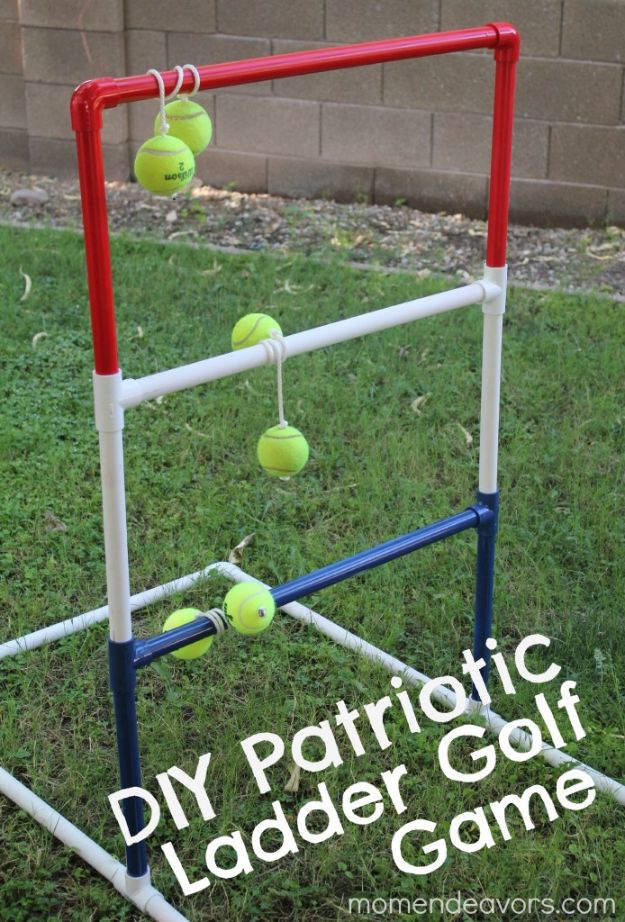 Best DIY Backyard Games - DIY Patriotic Ladder Golf - Cool DIY Yard Game Ideas for Adults, Teens and Kids - Easy Tutorials for Cornhole, Washers, Jenga, Tic Tac Toe and Horseshoes - Cool Projects for Outdoor Parties and Summer Family Fun Outside #diy #backyard #kids #games