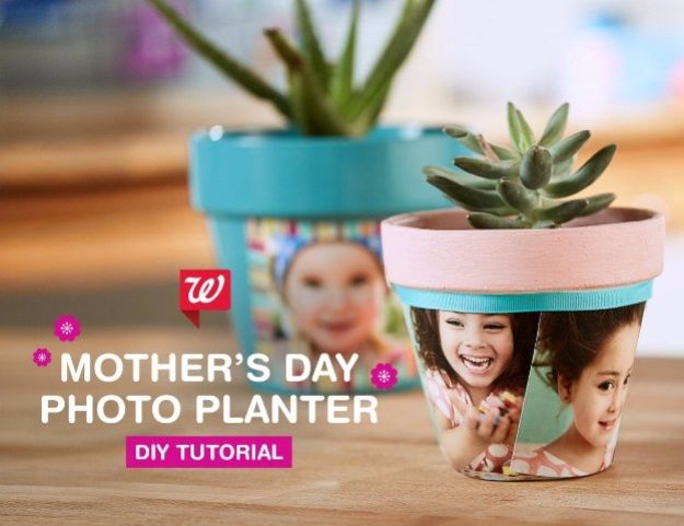 DIY Mothers Day Gift Ideas - DIY Photo Planter - Homemade Gifts for Moms - Crafts and Do It Yourself Home Decor, Accessories and Fashion To Make For Mom - Mothers Love Handmade Presents on Mother's Day - DIY Projects and Crafts by DIY JOY