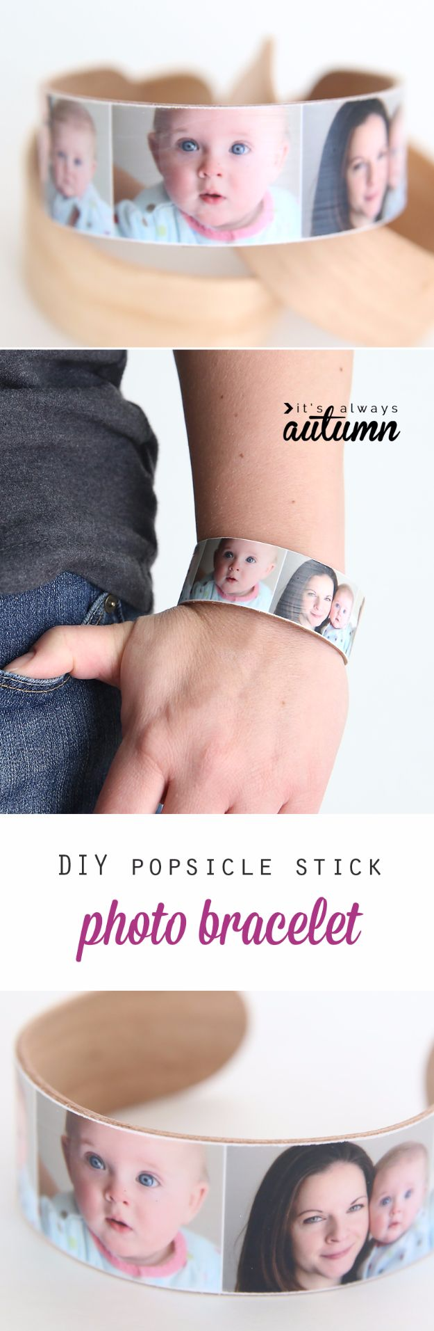 DIY Mothers Day Gift Ideas - DIY Popsicle Stick Photo Bracelet - Homemade Gifts for Moms - Crafts and Do It Yourself Home Decor, Accessories and Fashion To Make For Mom - Mothers Love Handmade Presents on Mother's Day - DIY Projects and Crafts by DIY JOY http://diyjoy.com/diy-mothers-day-gifts