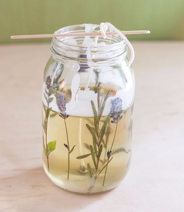 DIY Ideas with Dried Herbs - DIY Pressed Herb Candles - Creative Home Decor With Easy Step by Step Tutorials for Making Herb Crafts, Projects and Recipes - Cool DIY Gift Ideas and Cheap Homemade Gifts - DIY Projects and Crafts by DIY JOY #diy #herbs #gifts