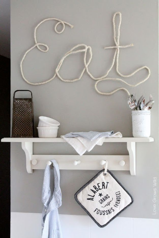 DIY Wall Letters and Word Signs - DIY Rope Letters - Initials Wall Art for Creative Home Decor Ideas - Cool Architectural Letter Projects and Wall Art Tutorials for Living Room Decor, Bedroom Ideas. Girl or Boy Nursery. Paint, Glitter, String Art, Easy Cardboard and Rustic Wooden Ideas - DIY Projects and Crafts by DIY JOY #diysigns #diyideas #diyhomedecor