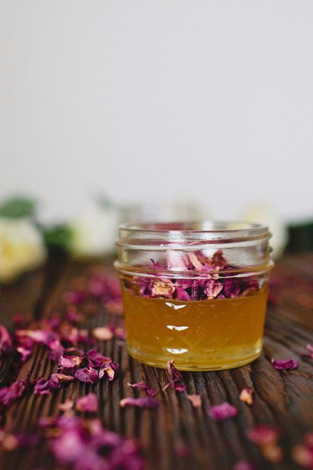 DIY Ideas With Rose Petals - DIY Rose Petal Infused Honey - Crafts and DIY Projects, Recipes You Can Make With Rose Petals - Creative Home Decor and Gift Ideas Make Awesome Mothers Day and Christmas Gifts - Crafts and Do It Yourself by DIY JOY #rosecrafts #diygifts