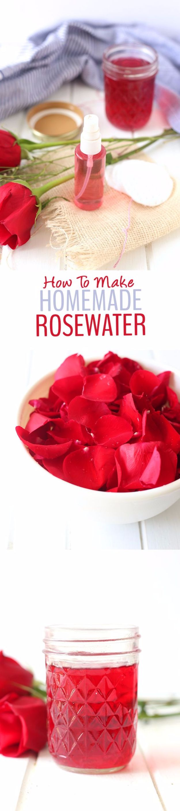DIY Ideas With Rose Petals - DIY Rosewater Face Toner - Crafts and DIY Projects, Recipes You Can Make With Rose Petals - Creative Home Decor and Gift Ideas Make Awesome Mothers Day and Christmas Gifts - Crafts and Do It Yourself by DIY JOY #rosecrafts #diygifts