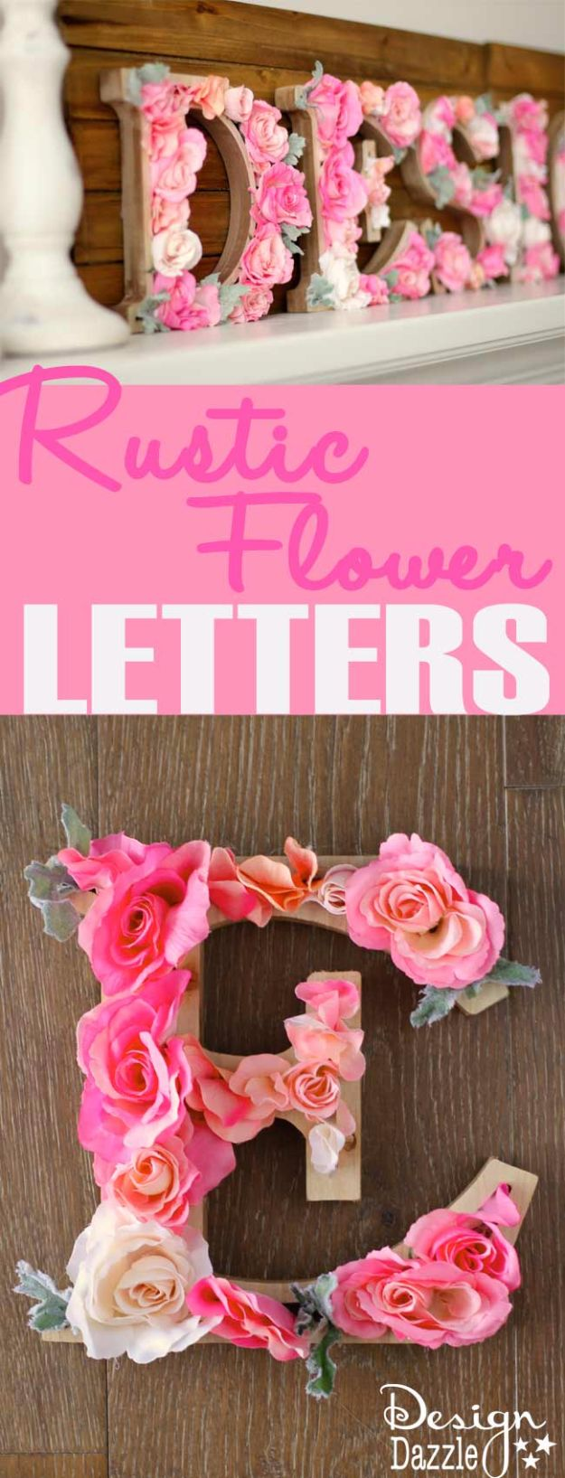 DIY Wall Letters and Word Signs - DIY Rustic Letters With Flowers - Initials Wall Art for Creative Home Decor Ideas - Cool Architectural Letter Projects and Wall Art Tutorials for Living Room Decor, Bedroom Ideas. Girl or Boy Nursery. Paint, Glitter, String Art, Easy Cardboard and Rustic Wooden Ideas - DIY Projects and Crafts by DIY JOY #diysigns #diyideas #diyhomedecor