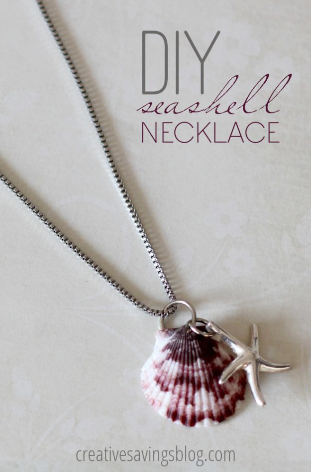 DIY Necklace Ideas - DIY Seashell Necklace - Easy Handmade Necklaces with Step by Step Tutorials - Pendant, Beads, Statement, Choker, Layered Boho, Chain and Simple Looks - Creative Jewlery Making Ideas for Women and Teens, Girls - Crafts and Cool Fashion Ideas for Women, Teens and Teenagers http://diyjoy.com/diy-necklaces