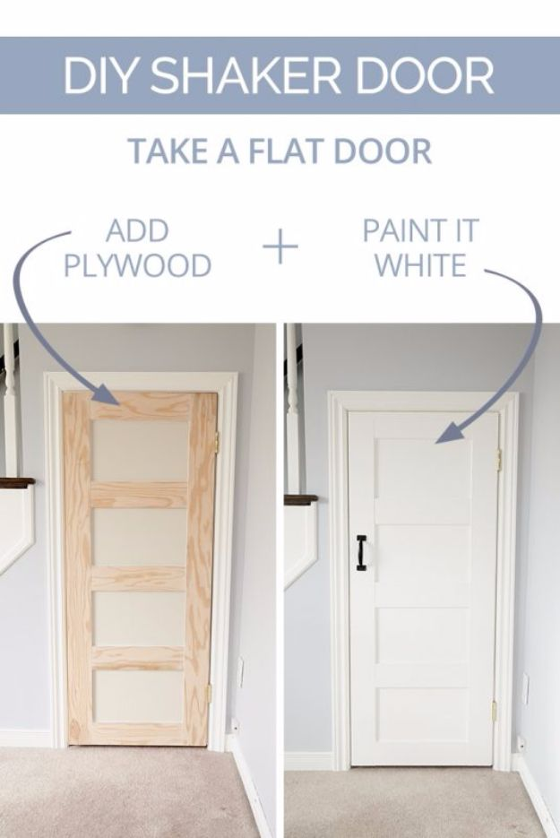 DIY Home Improvement On A Budget - DIY Shaker Door - Easy and Cheap Do It Yourself Tutorials for Updating and Renovating Your House - Home Decor Tips and Tricks, Remodeling and Decorating Hacks - DIY Projects and Crafts by DIY JOY #diy