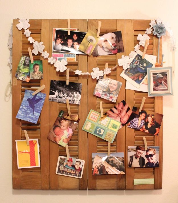 Tips and Tricks for Hanging Photos and Frames - DIY Shutter Repurpose - Step By Step Tutorials and Easy DIY Home Decor Projects for Decorating Walls - Cool Wall Art Ideas for Bedroom, Living Room, Gallery Walls - Creative and Cheap Ideas for Displaying Photos and Prints - DIY Projects and Crafts by DIY JOY #diydecor #decoratingideas