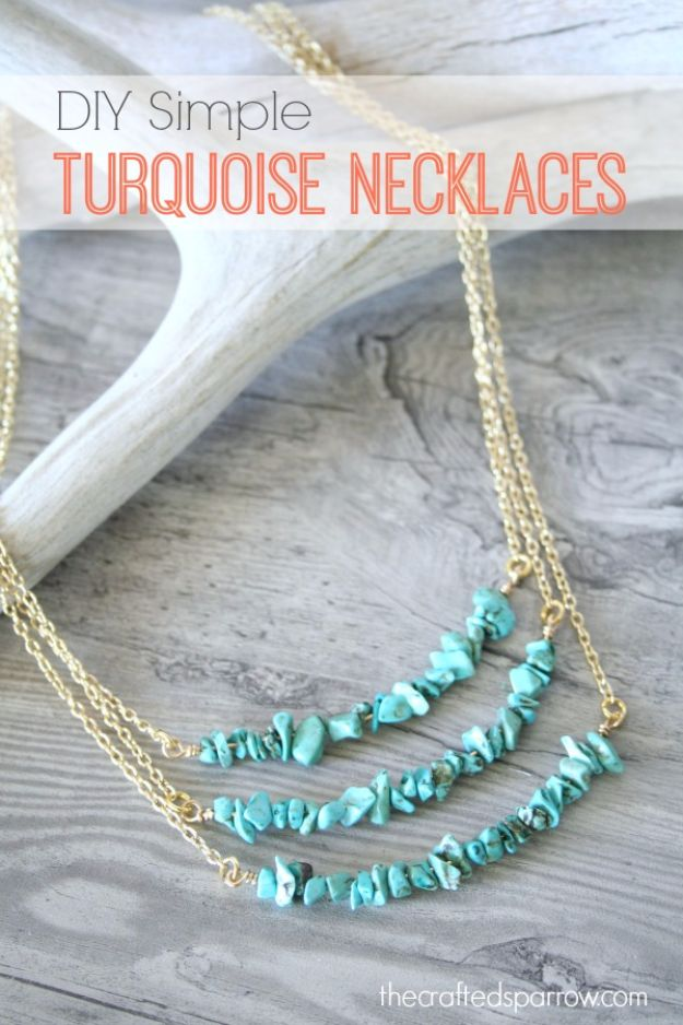 DIY Necklace Ideas - DIY Simple Turquoise Necklace - Easy Handmade Necklaces with Step by Step Tutorials - Pendant, Beads, Statement, Choker, Layered Boho, Chain and Simple Looks - Creative Jewlery Making Ideas for Women and Teens, Girls - Crafts and Cool Fashion Ideas for Women, Teens and Teenagers http://diyjoy.com/diy-necklaces
