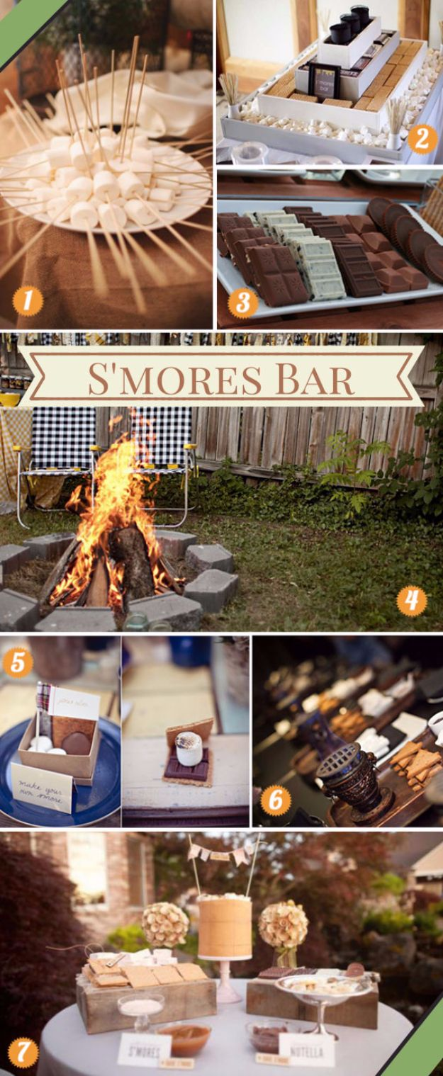 DIY Outdoors Wedding Ideas - DIY S'mores Bar - Step by Step Tutorials and Projects Ideas for Summer Brides - Lighting, Mason Jar Centerpieces, Table Decor, Party Favors, Guestbook Ideas, Signs, Flowers, Banners, Tablecloth and Runners, Napkins, Seating and Lights - Cheap and Ideas DIY Decor for Weddings http://diyjoy.com/diy-outdoor-wedding