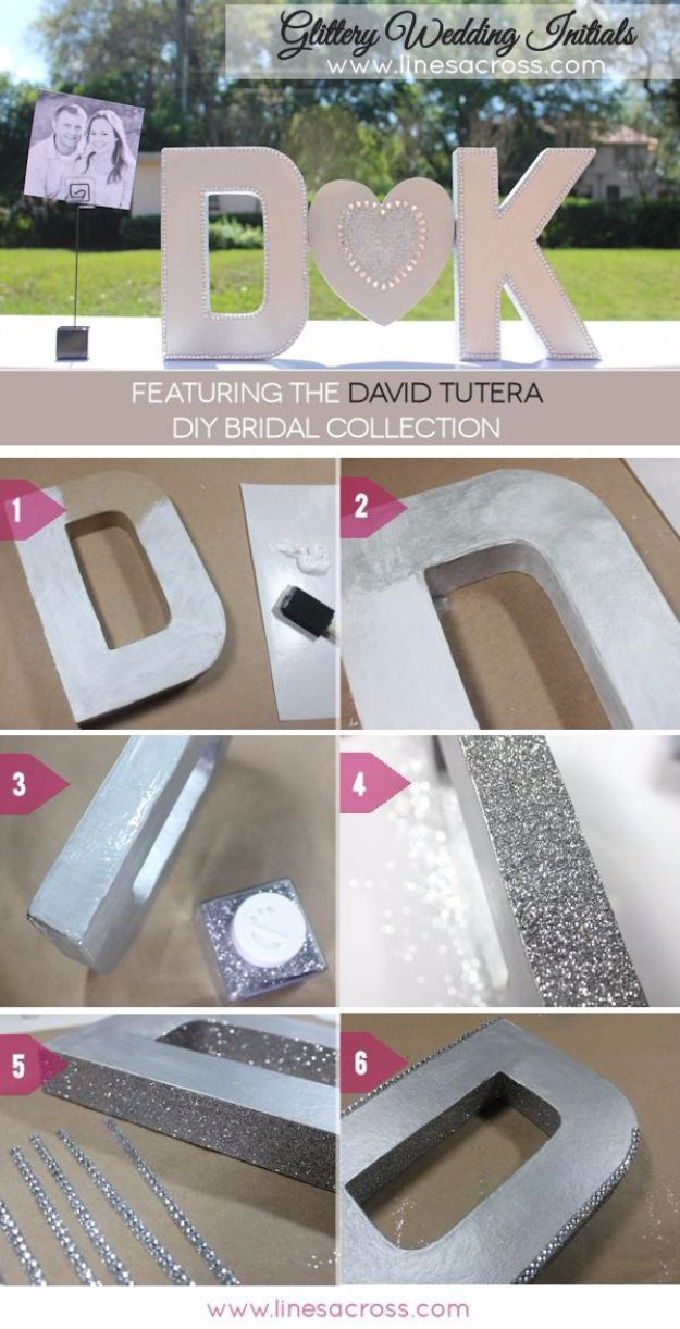 DIY Wall Letters and Word Signs - DIY Sparkling Metallic Wedding Initials - Initials Wall Art for Creative Home Decor Ideas - Cool Architectural Letter Projects and Wall Art Tutorials for Living Room Decor, Bedroom Ideas. Girl or Boy Nursery. Paint, Glitter, String Art, Easy Cardboard and Rustic Wooden Ideas - DIY Projects and Crafts by DIY JOY #diysigns #diyideas #diyhomedecor