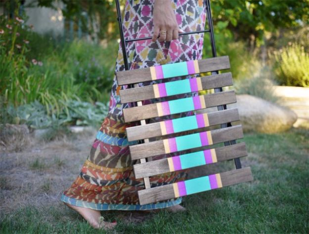 DIY Outdoors Wedding Ideas - DIY Striped Chairs - Step by Step Tutorials and Projects Ideas for Summer Brides - Lighting, Mason Jar Centerpieces, Table Decor, Party Favors, Guestbook Ideas, Signs, Flowers, Banners, Tablecloth and Runners, Napkins, Seating and Lights - Cheap and Ideas DIY Decor for Weddings http://diyjoy.com/diy-outdoor-wedding