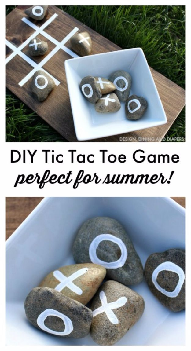 Best DIY Backyard Games - DIY Tic Tac Toe Game - Cool DIY Yard Game Ideas for Adults, Teens and Kids - Easy Tutorials for Cornhole, Washers, Jenga, Tic Tac Toe and Horseshoes - Cool Projects for Outdoor Parties and Summer Family Fun Outside #diy #backyard #kids #games