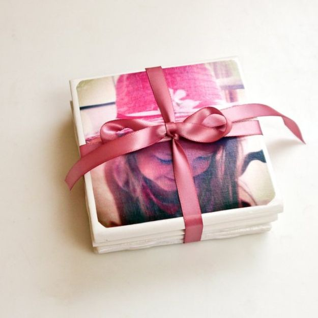 DIY Mothers Day Gift Ideas - DIY Tile Photo Coasters - Homemade Gifts for Moms - Crafts and Do It Yourself Home Decor, Accessories and Fashion To Make For Mom - Mothers Love Handmade Presents on Mother's Day - DIY Projects and Crafts by DIY JOY http://diyjoy.com/diy-mothers-day-gifts