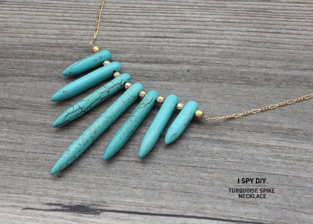 DIY Necklace Ideas - DIY Turquoise Spike Necklace - Easy Handmade Necklaces with Step by Step Tutorials - Pendant, Beads, Statement, Choker, Layered Boho, Chain and Simple Looks - Creative Jewlery Making Ideas for Women and Teens, Girls - Crafts and Cool Fashion Ideas for Women, Teens and Teenagers http://diyjoy.com/diy-necklaces