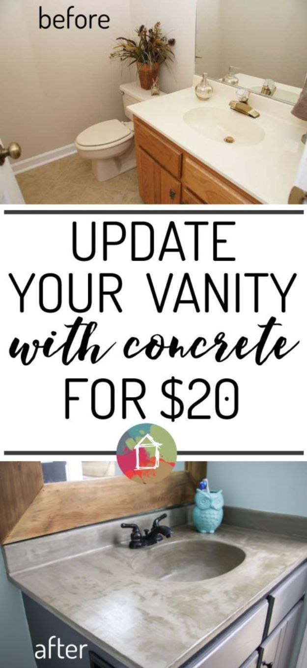 DIY Home Improvement On A Budget - DIY Vanity Concrete Overlay - Easy and Cheap Do It Yourself Tutorials for Updating and Renovating Your House - Home Decor Tips and Tricks, Remodeling and Decorating Hacks - DIY Projects and Crafts by DIY JOY #diy #homeimprovement #diyhome #diyideas #homeimprovementideas http://diyjoy.com/diy-home-improvement-ideas-budget