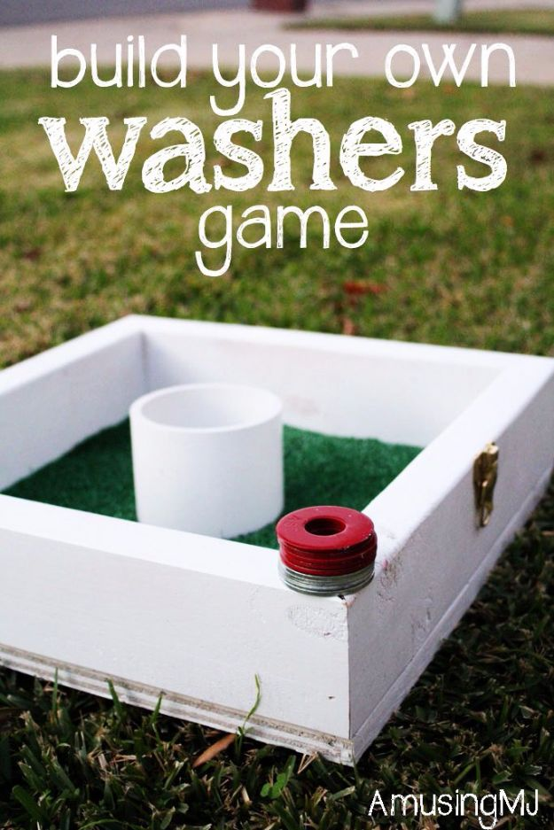 Fun DIY Backyard Games - DIY Washers Game - Cool DIY Yard Game Ideas for Adults, Teens and Kids - Easy Tutorials for Cornhole, Washers, Jenga, Tic Tac Toe and Horseshoes - Cool Projects for Outdoor Parties and Summer Family Fun Outside #diy #backyard #kids #games