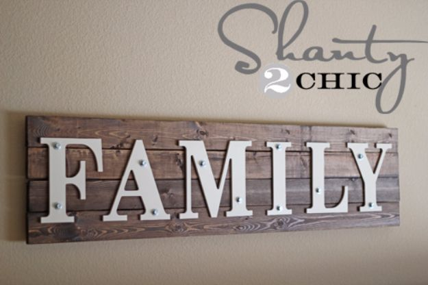 DIY Wall Letters and Word Signs - DIY Wood Family Sign - Initials Wall Art for Creative Home Decor Ideas - Cool Architectural Letter Projects and Wall Art Tutorials for Living Room Decor, Bedroom Ideas. Girl or Boy Nursery. Paint, Glitter, String Art, Easy Cardboard and Rustic Wooden Ideas - DIY Projects and Crafts by DIY JOY #diysigns #diyideas #diyhomedecor