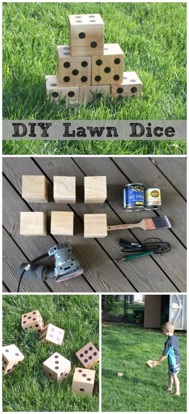 Best DIY Backyard Games - DIY Wooden Yard Dice - Cool DIY Yard Game Ideas for Adults, Teens and Kids - Easy Tutorials for Cornhole, Washers, Jenga, Tic Tac Toe and Horseshoes - Cool Projects for Outdoor Parties and Summer Family Fun Outside #diy #backyard #kids #games