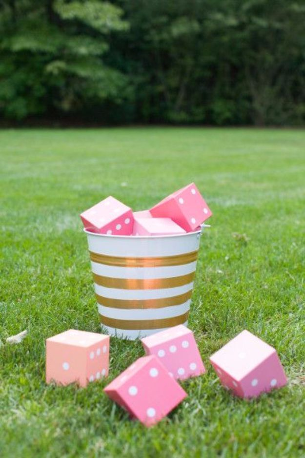 DIY Outdoors Wedding Ideas - DIY Yard Yahtzee Wedding Game - Step by Step Tutorials and Projects Ideas for Summer Brides - Lighting, Mason Jar Centerpieces, Table Decor, Party Favors, Guestbook Ideas, Signs, Flowers, Banners, Tablecloth #wedding #diy