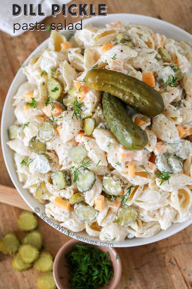 Best Dinner Salad Recipes - Dill Pickle Pasta Salad - Easy Salads to Make for Quick and Healthy Dinners - Healthy Chicken, Egg, Vegetarian, Steak and Shrimp Salad Ideas - Summer Side Dishes, Hearty Filling Meals, and Low Carb Options #saladrecipes #dinnerideas #salads #healthyrecipes