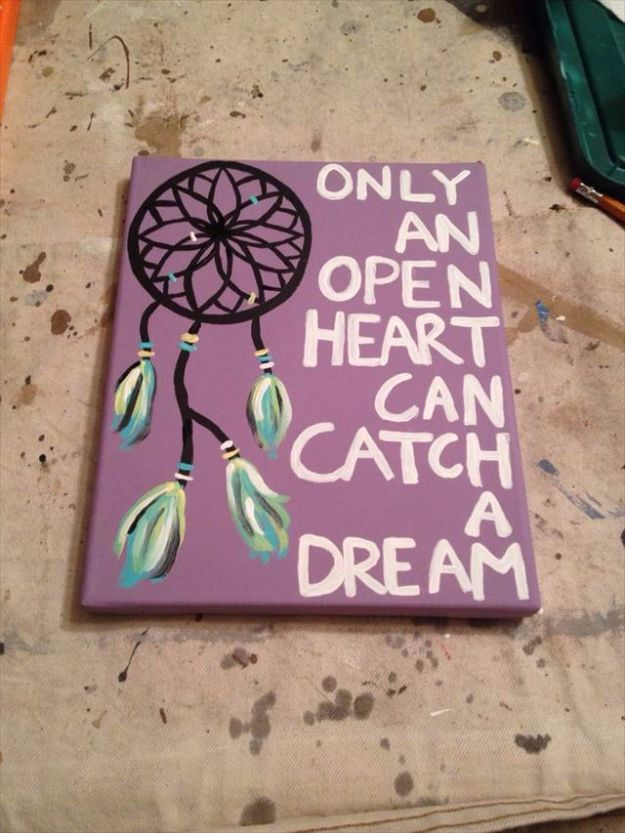 DIY Canvas Painting Ideas - Dream Catcher Canvas Painting - Cool and Easy Wall Art Ideas You Can Make On A Budget #painting #diyart #diygifts