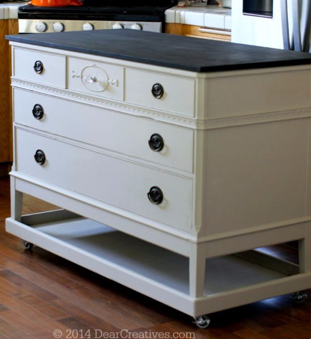DIY Home Improvement On A Budget - Dresser To Kitchen Island - Easy and Cheap Do It Yourself Tutorials for Updating and Renovating Your House - Home Decor Tips and Tricks, Remodeling and Decorating Hacks - DIY Projects and Crafts by DIY JOY http://diyjoy.com/diy-home-improvement-ideas-budget