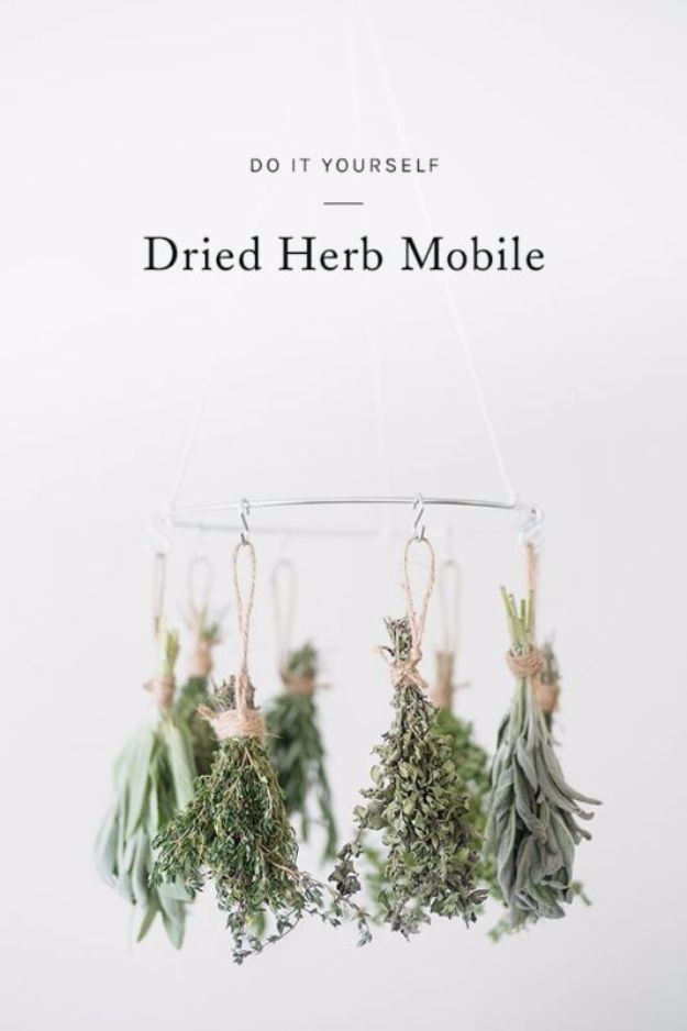 Easy DIY Ideas with Dried Herbs - Dried Herb Mobile - Creative Home Decor With Easy Step by Step Tutorials for Making Herb Crafts, Projects and Recipes - Cool DIY Gift Ideas and Cheap Homemade Gifts - DIY Projects and Crafts by DIY JOY #diy #herbs #gifts
