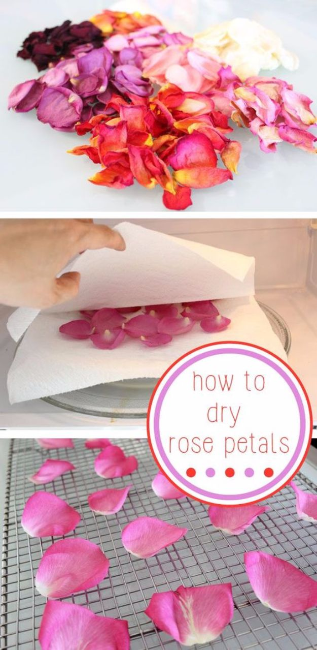 DIY Ideas With Rose Petals - Dried Rose Petals - Crafts and DIY Projects, Recipes You Can Make With Rose Petals - Creative Home Decor and Gift Ideas Make Awesome Mothers Day and Christmas Gifts - Crafts and Do It Yourself by DIY JOY http://diyjoy.com/diy-ideas-rose-petals