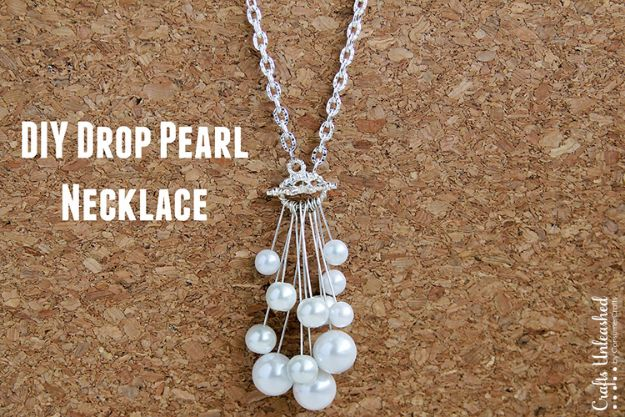 DIY Necklace Ideas - Drop DIY Pearl Necklace - Easy Handmade Necklaces with Step by Step Tutorials - Pendant, Beads, Statement, Choker, Layered Boho, Chain and Simple Looks - Creative Jewlery Making Ideas for Women and Teens, Girls - Crafts and Cool Fashion Ideas for Women, Teens and Teenagers #necklaces #diyjewelry #jewelrymaking #teencrafts