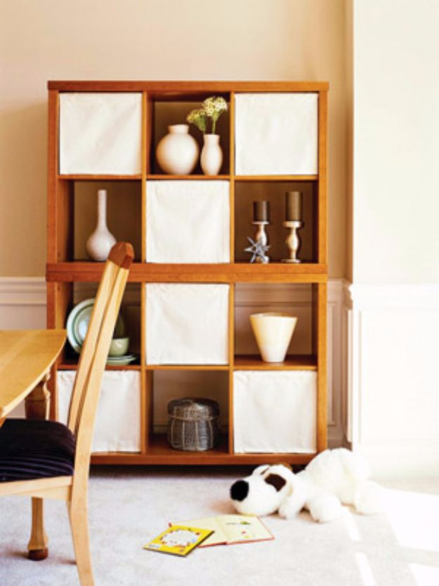 Cool DIY Ideas With Tension Rods - Easy Bookcase Shades - Quick Do It Yourself Projects, Easy Ways To Save Money, Hacks You Can Do With A Tension Rod - Window Treatments, Small Spaces, Apartments, Storage
