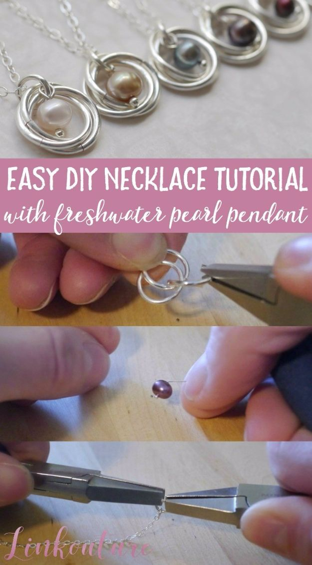 DIY Necklace Ideas - Easy DIY Necklace With Freshwater Pearl Pendant - Easy Handmade Necklaces with Step by Step Tutorials - Pendant, Beads, Statement, Choker, Layered Boho, Chain and Simple Looks - Creative Jewlery Making Ideas for Women and Teens, Girls - Crafts and Cool Fashion Ideas for Women, Teens and Teenagers #necklaces #diyjewelry #jewelrymaking #teencrafts