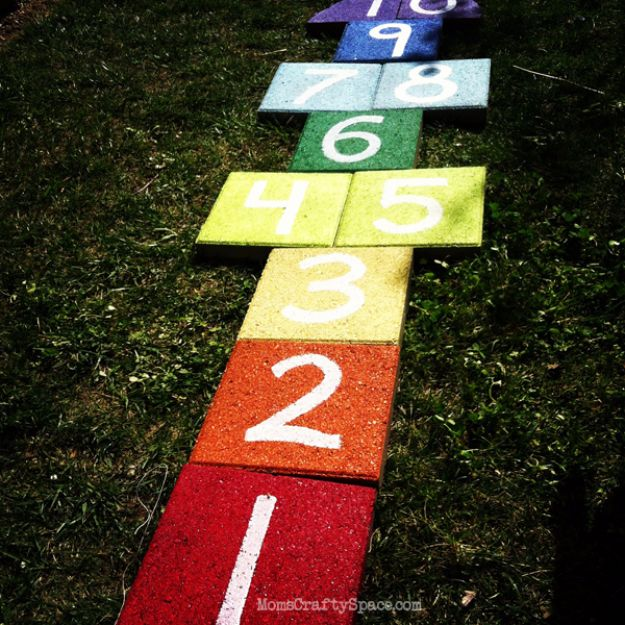 Best DIY Backyard Games - Easy DIY Rainbow Paver Hopscotch - Cool DIY Yard Game Ideas for Adults, Teens and Kids - Easy Tutorials for Cornhole, Washers, Jenga, Tic Tac Toe and Horseshoes - Cool Projects for Outdoor Parties and Summer Family Fun Outside #diy #backyard #kids #games