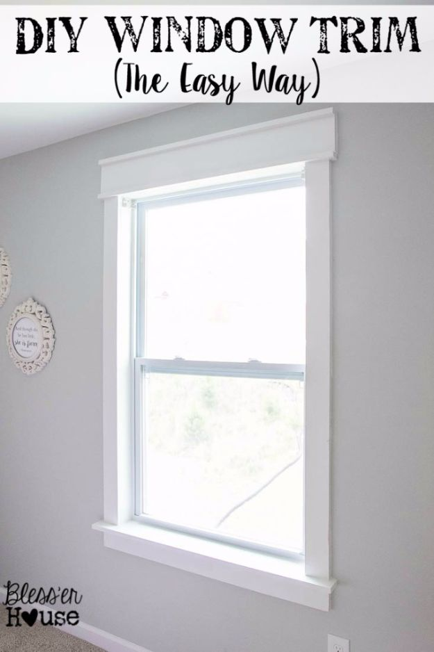 DIY Home Improvement On A Budget - Easy DIY Window Trim - Easy and Cheap Do It Yourself Tutorials for Updating and Renovating Your House - Home Decor Tips and Tricks, Remodeling and Decorating Hacks - DIY Projects and Crafts by DIY JOY #diy #homeimprovement #diyhome #diyideas #homeimprovementideas http://diyjoy.com/diy-home-improvement-ideas-budget