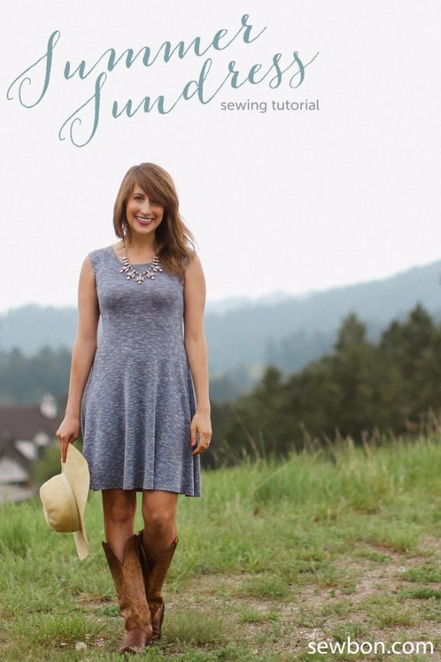 DIY Dresses to Sew for Summer - Easy Knit Sundress - Best Free Patterns For Dress Ideas - Easy and Cheap Clothes to Make for Women and Teens - Step by Step Sewing Projects - Short, Summer, Winter, Fall, Inexpensive DIY Fashion http://diyjoy.com/sewing-dresses-patterns-summer