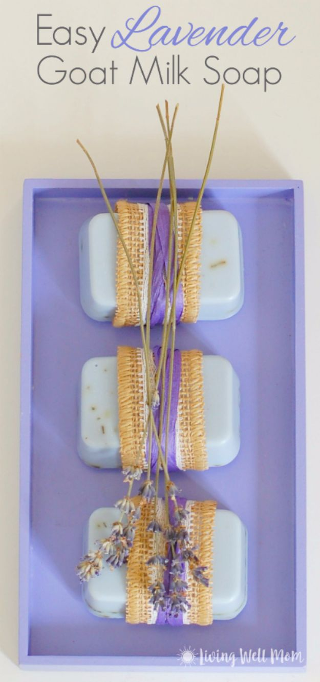 DIY Lavender Recipes and Project Ideas - Easy Lavender Goat Milk Soap - Food, Beauty, Baking Tutorials, Desserts and Drinks Made With Fresh and Dried Lavender - Savory Lavender Recipe Ideas, Healthy and Vegan - DIY Projects and Crafts by DIY JOY http://diyjoy.com/diy-projects-lavender-herbs